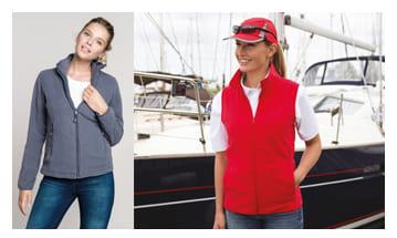 Polares y otros productos para el invierno de mujer, para publicitar tu empresa con regalos prácticos textiles.