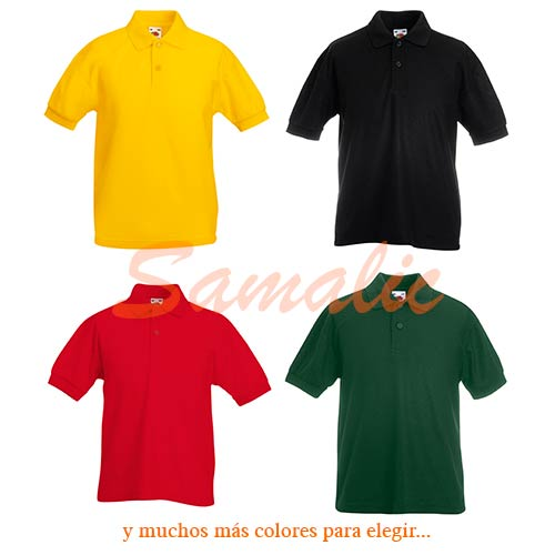 COMPRAR POLO DE NIÑO PIQUE 65/35 REF 634170 FRUIT OF THE LOOM