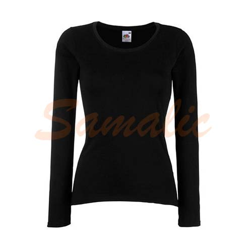 CAMISETA VALUEWEIGHT MUJER MANGA LARGA NEGRO REF 614040C FRUIT OF THE LOOM