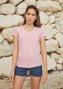 CAMISETA MUJER VALUEWEIGHT CUELLO PICO REF 613980C FRUIT OF THE LOOM